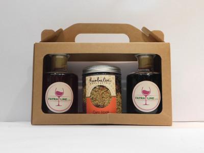 Firemné víno 2 x  0,2 l + sypaný čaj Čaro šípok 130g + papierová krabica