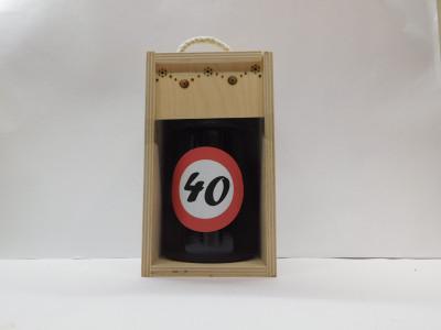 Darčekové balenie 0,7 l narodeniny 40 drevená krabica