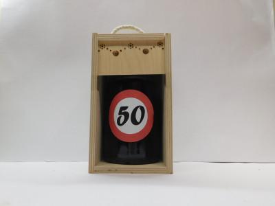 Darčekové balenie 0,7 l narodeniny 50 drevená krabica