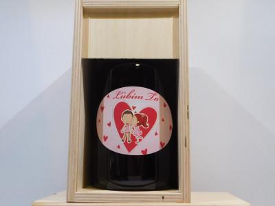 Ovocné víno 0,7 l Ľúbim ťa + drevená krabica