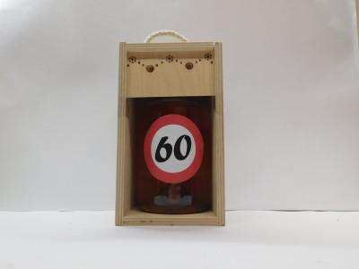 Darčekové balenie 0,7 l narodeniny 60 drevená krabica
