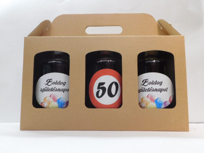 Darčekové balenie 3 x 0,7 l narodeniny 50 maďarské